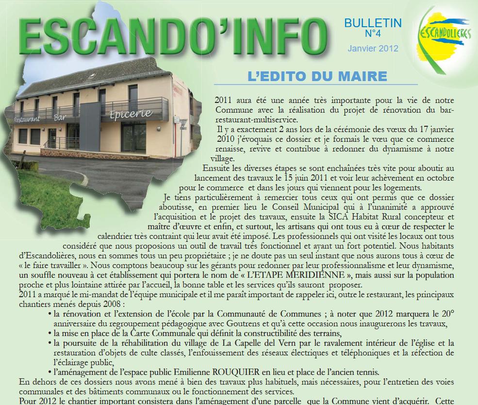 Bulletin municipal Escandolieres 2012