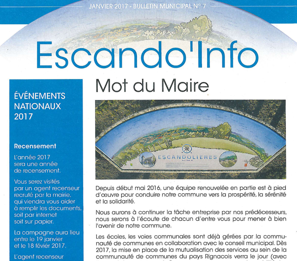 Bulletin municipal Escandolieres 2017