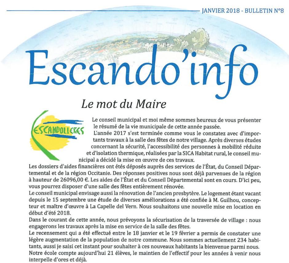 Bulletin municipal Escandolieres 2018