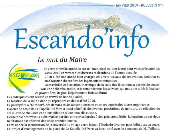 Bulletin municipal Escandolieres 2019